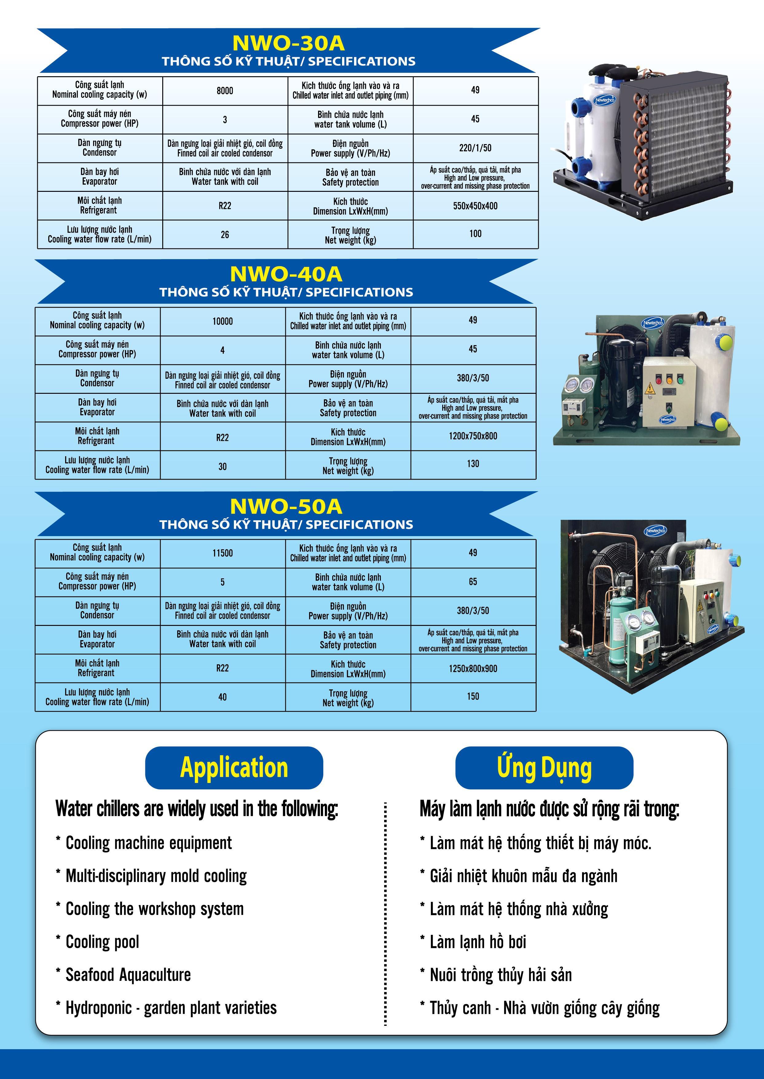 Catalogue máy làm lạnh nước chiller công nghiệp
